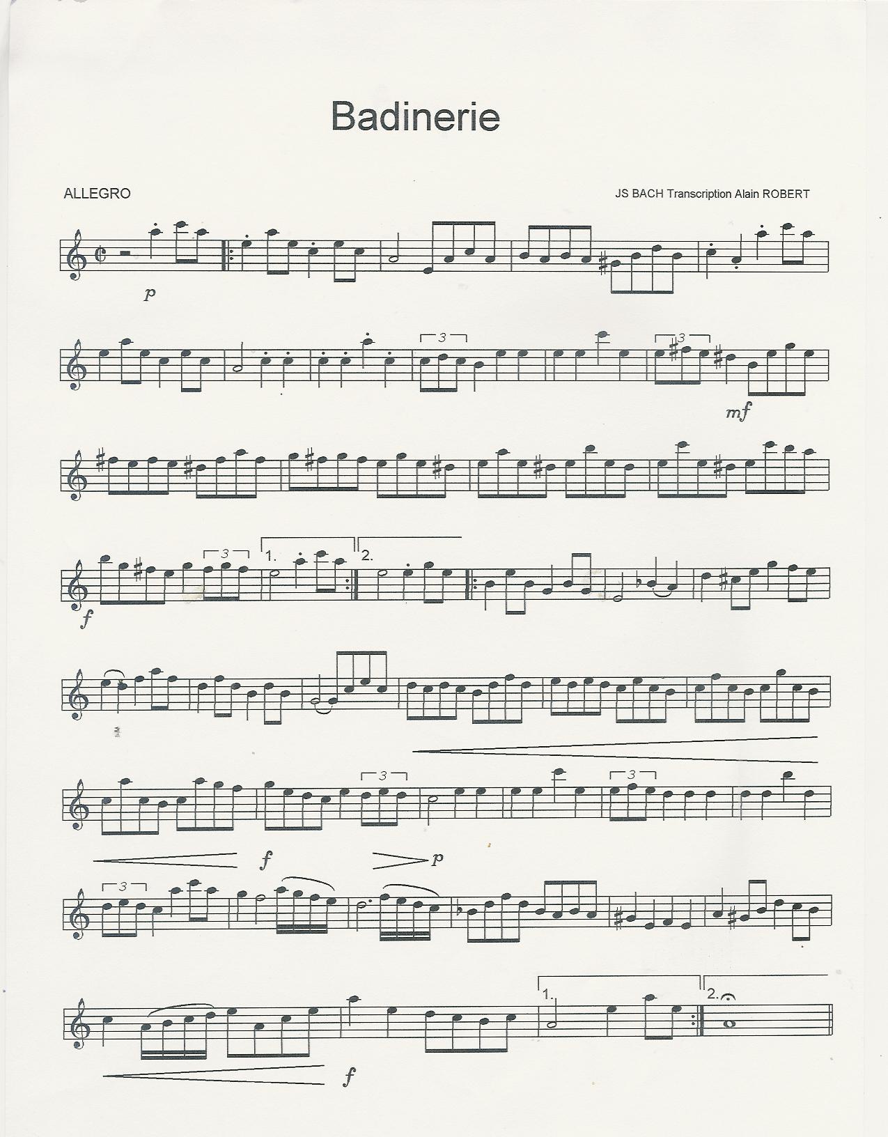 Badinarie de J. S. Bach Partitura para flauta, violin, saxo alto, tenor, soprano, trompa, clarinete, corno inglés, trompeta, oboe.... Música Clásica.